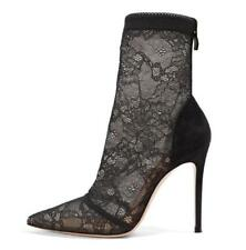 Women Lace Pointed Ankle Boots Stretch Socks Boots Sexy Stilettos Winter Ske15