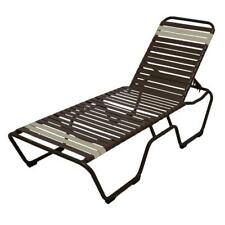 Aluminum Frame Recliner 2-Set Patio Chaise Lounge Cafe Brown White Straps Chair
