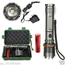 8000LM XM-L T6 LED Flashlight Torch Zoomable Tactical + 18650 Car/AC Charger Box