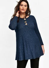 Ex EVANS Navy Blue Relaxed Fit Button Front Swing Top Tunic Dress Size 14-32