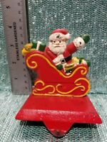 Vintage Solid Cast Iron Santa Claus In Sleigh Christmas Stocking Holder Hanger