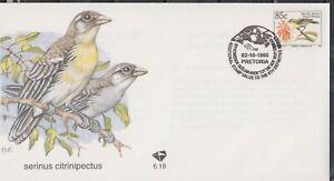 RSA SOUTH AFRICA 1995 Endangered Fauna/Birds Def 85c Lemon Seedeater SG 815a FDC
