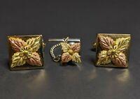 Vintage Black Hills Gold Cufflinks Tie Tack Set 10k Landstroms Anson