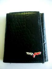 Corvette C6 Black Italian Leather Trifold Wallet