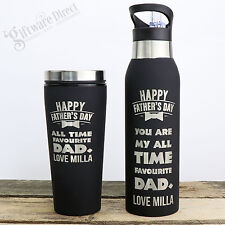 Custom Engraved Fathers Day Travel Mug & Water Bottle Set Black Gift Dad Coffee
