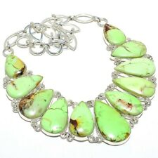"Lemon Chrysoprase Gemstone Handmade 925 Sterling Silver Necklace 18"""