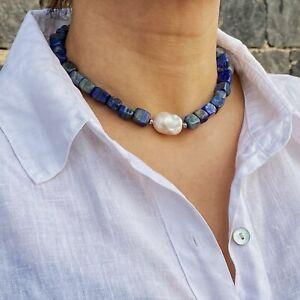 ZARD Lapis Lazuli and Baroque Pearl Choker Necklace Gemstone Handmade Jewelry