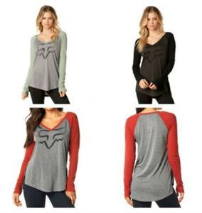 Fox Racing Womens Certain Long-Sleeve Tee Shirt V-Neck T-Shirt Casual Tops XS-XL