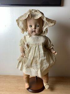 "VINTAGE CREEPY & HAUNTED BABY DOLL 18"" TALL ANTIQUE GOTHIC ODDITY w/ REAL TEETH!"
