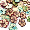 Flower Natural Wooden Buttons For Needlework Scrapbooking 2 Holes Sewing WB523