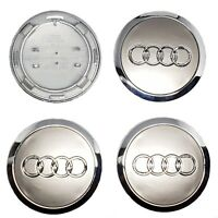 4x Audi Alloy Wheel Centre Cap 68mm 70mm Grey CHROME TT A3 A4 A5 A6 A7 Q5 Q7 RS4