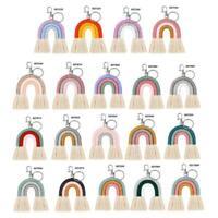 Weaving Rainbow Keychains Women Handmade Key Holder Keyring Macrame Bag Charm