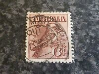 AUSTRALIA POSTAGE STAMP SG19 6D CLARET SCARCE TPO OUT CANC FINE USED