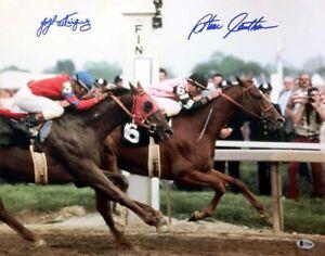 JORGE VELASQUEZ & STEVE CAUTHEN SIGNED 16x20 PHOTO ALYDAR AFFIRMED BECKETT BAS