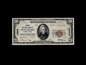 1929 Type 2 Wilkes-Barre Pennsylvania $20 National Banknote Charter 13852 VF