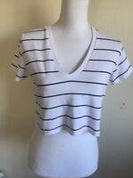 New! Brandy Melville white/black stripe cotton crop v neck Ashley top NWT