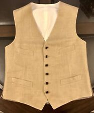 Ralph Lauren Gentleman's Linen VEST Size 40 Light Khaki Made In Slovakia New
