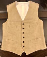 Ralph Lauren Gentleman's Linen VEST Size 40 Light Khaki Made In Slovakia New