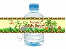 Baby Shower Water Bottle Wrappers- Safari Jungle Animals - Birthday/Baby Shower
