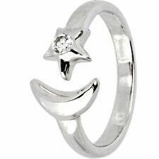Star Crescent Bypass Toe Adjustable Ring 10Kt White Gold Finish Diamond Moon &