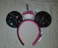 NEW Disney Parks Minnie Mickey Mouse Ear Birthday Cupcake Candle Sequin Headband