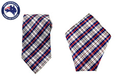 Maroon Navy Blue White Check 8.5 CM Necktie & Pocket Square Hanky & Tie Combo