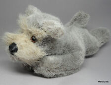 Steiff Junior Tessie Schnauzer Dog Lying ID Button 30cm 12in Grey Plush 1977 -80