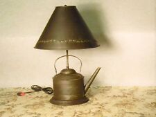 """60% off SALE """"Teapot Lamp w/Shade"""" Primitive Colonial Country Rustic *NICE*"""