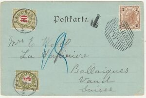AUSTRIA 1899 PICTURE POSTCARD POSTAGE DUE TO SWITZERLAND MARIENBAD VIEW
