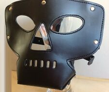 Faux Leather Open Mouth Nose Head Hood, Halloween Party Mask Head hood