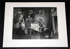 """1880 BRITISH ART PRINT-ENGRAVING, """"WATT'S FIRST EXPERIMENT"""" BY MARCUS STONE!"""