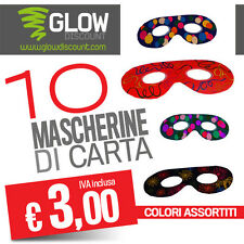 10 MASCHERINA IN CARTA carnevale feste party starlight bar eventi dj fluo- 30414