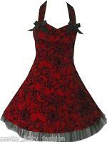 PRETTY KITTY ROCKABILLY PROM RED TATTOO 50S STARS DRESS 8-16 *FREE UK POSTAGE*