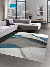 Alfombra moderna alfombra salón diseño a ola azul gris