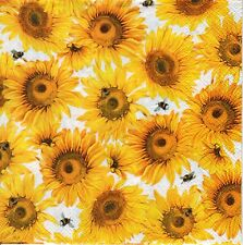 4x Designer PAPER NAPKINS for Decoupage SUNNY BUTTERFLY Flowers Floral Sunflower