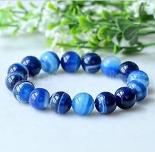 Gemstone Stretchy Bangle Bracelet 7.5'' 8mm Natural Blue Stripe Agate Round
