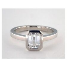 0.60 Ct VS2 G Emerald Cut Real Solitaire Diamond Engagement Ring 18K White Gold
