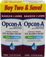 Twin Pack Bausch Lomb Opcon-A Eye Drops Allergy Relief Itching Redness Reliever