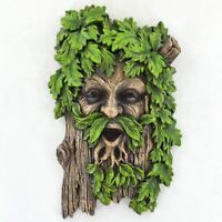 Greenman Face Plaque for Garden Home Wicca Celtic Pagan Magic Green Man Tree Man