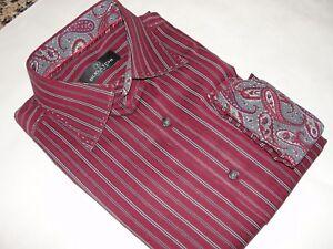BUGATCHI UOMO Men's Burgundy Striped  Dress Shirt Size-L
