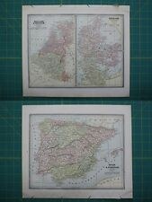 Holland Belgium Denmark Spain Portugal Vintage Original 1885 Cram's Atlas Map
