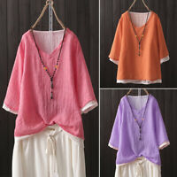ZANZEA Women 1/2 Sleeve Casual Shirt Blouse V Neck Oversize Plain Tops T-Shirt