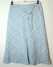 BLUE WHITE STRIPED LADIES CASUAL A-LINE SKIRT SIZE 12 M&CO LINEN BLEND