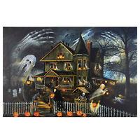 "Northlight LED Creepy Haunted House Halloween Canvas Wall Art 23.5"" x 15.5"""