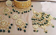 Choker Necklace Bollywood Set Jewelry Gold Tone Kundan Indian Pearl Cz Jhumka 1