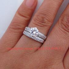 100% Genuine Solid 9K White Gold Engagement Wedding Rings Set Simulated Diamonds