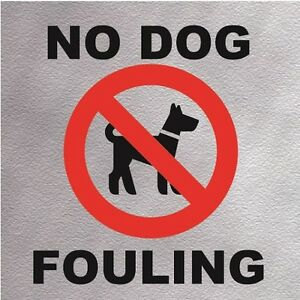 No Dog Fouling Information Sign High Quality Self Adhesive Mettalic Brushed Sign