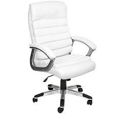 Chaise de bureau siège hauteur réglable simili cuir fauteuil direction blanc
