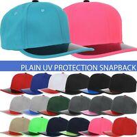 Classic Snapback Solid Basic Baseball Cap UV Protect Color Brim Plain Blank