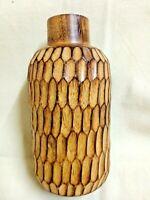 Vintage Wooden Vase Handmade Carved Pots Bottle Flowers Home Decor Brown Wood